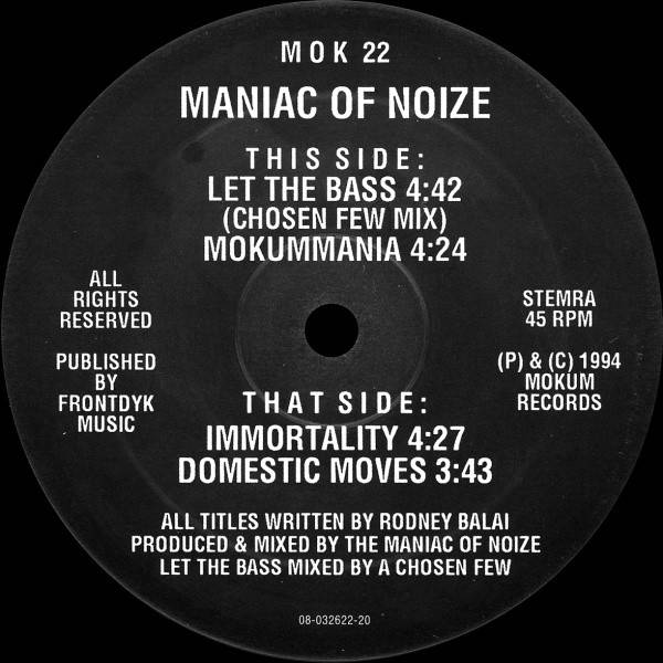 MANIAC OF NOIZE - Let The Bass - Maxi 45T