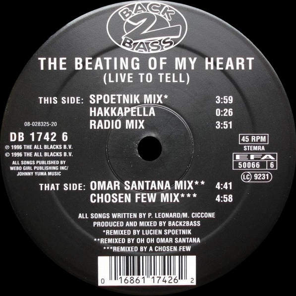 BACK 2 BASS - The Beating Of My Heart (Live To Tell) - Maxi 45T