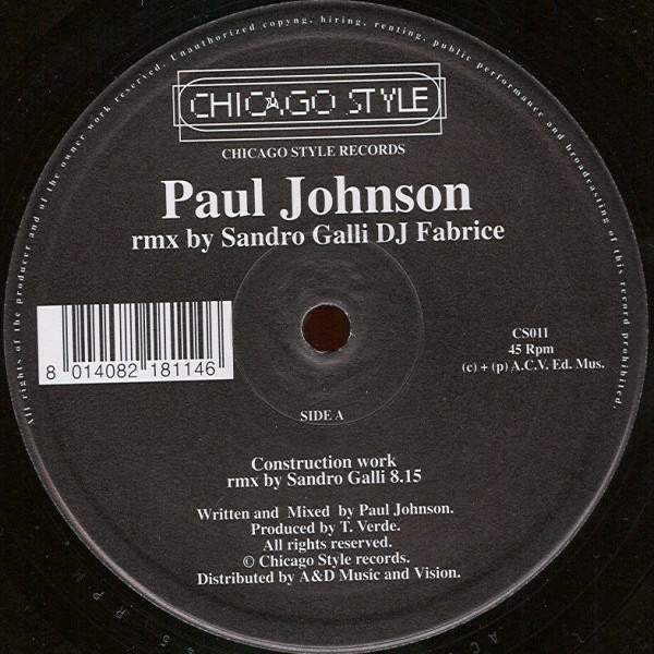 PAUL JOHNSON - Criptography / Construction - 12 inch 45 rpm