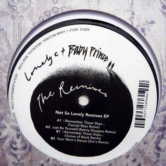 LONELY C + BABY PRINCE - Not So Lonely Remixes EP - 12 inch 45 rpm